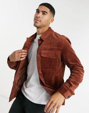 Желтовато-красная вельветовая куртка -Красный Selected Homme