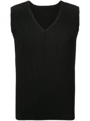 Приталенный жилет без рукавов Homme Plissé Issey Miyake. Цвет: черный