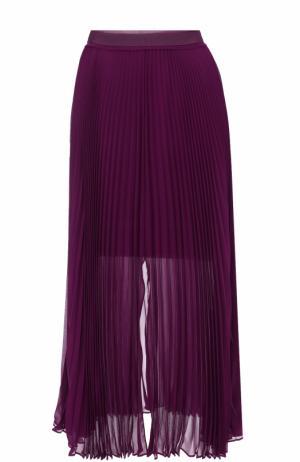 Шелковая плиссированная юбка-миди Roberto Cavalli. Цвет: фиолетовый