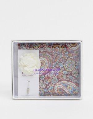 Платок-паше с принтом пейсли в стиле либерти и булавка на лацкан -Синий Gianni Feraud