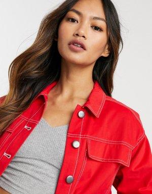 Джинсовая oversized-куртка красного цвета -Красный Native Youth