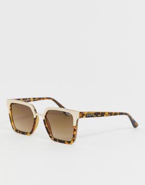Квадратные солнцезащитные очки в черепаховой оправе X Jaclyn Hill Upgrade-Коричневый Quay Australia