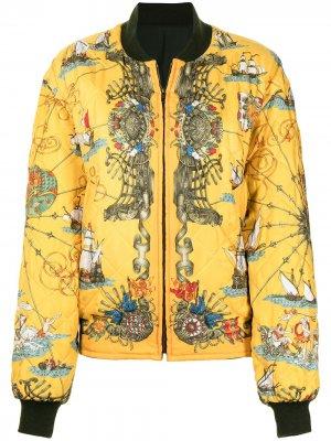 Двусторонний бомбер pre-owned с принтом Hermès. Цвет: желтый