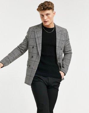 Коричневый двубортный приталенный пиджак в клетку -Серый Gianni Feraud