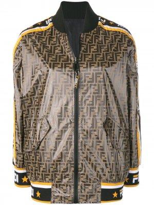 Куртка-бомбер с принтом Mania Fendi. Цвет: коричневый