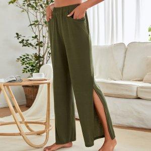 Домашние брюки с разрезом карманами SHEIN. Цвет: оливково-зеленый