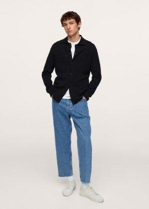 Трикотажный кардиган с карманами - Magnumc Mango. Цвет: глубокий темно-синий