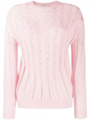 Джемпер фактурной вязки со сборками Nina Ricci. Цвет: розовый