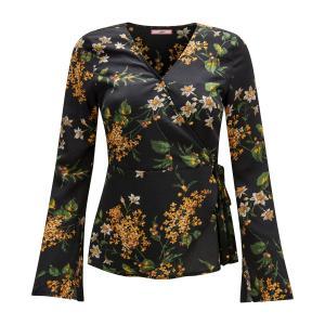 Блузка в форме каш-кер с цветочным рисунком JOE BROWNS. Цвет: черный наб. рисунок