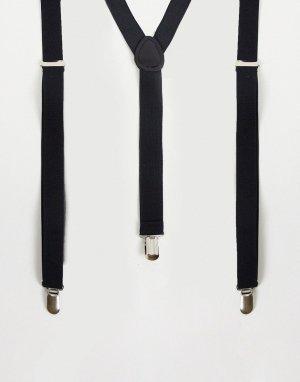 Черные подтяжки Wedding-Черный цвет ASOS DESIGN