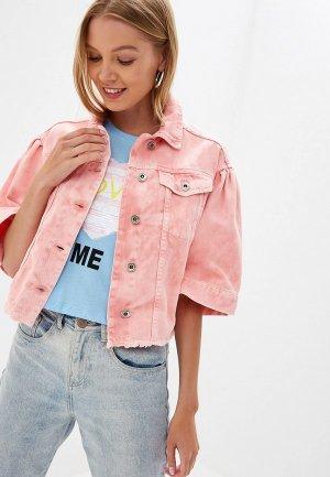 Куртка джинсовая Rinascimento. Цвет: розовый