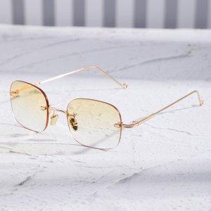 Мужские квадратные солнцезащитные очки без оправы SHEIN. Цвет: жёлтые