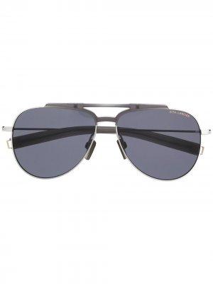 Солнцезащитные очки-авиаторы Dita Eyewear. Цвет: серый