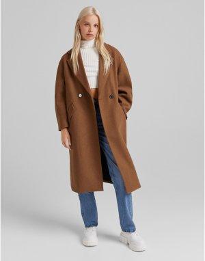 Длинное строгое пальто коричневого цвета -Коричневый Bershka