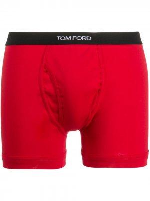 Боксеры с логотипом на поясе Tom Ford. Цвет: красный