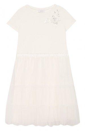 Платье из вискозы Aletta. Цвет: бежевый