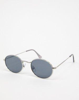 Овальные серебристые солнцезащитные очки с черными линзами -Серебряный Topman