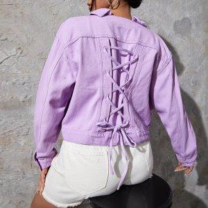 С карманами Одноцветный Повседневный Джинсовая куртка размера плюс SHEIN. Цвет: сиреневый фиолетовый