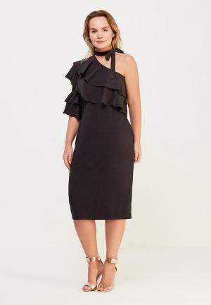 Платье Lost Ink Plus BODYCON DRESS WITH RUFFLE ONE SHOULDER. Цвет: черный
