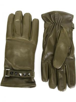 Перчатки Valentino Garavani. Цвет: зелёный