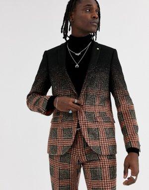 Серый приталенный пиджак в клетку Twisted Tailor