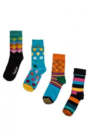 Комплект носков HAPPY SOCKS. Цвет: голубой, горошек, клетка