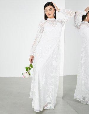 Свадебное платье с высоким воротом и вышивкой Violet-Белый ASOS EDITION