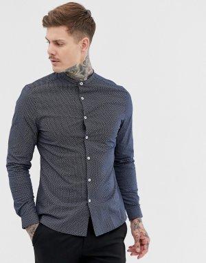 Темно-синяя узкая строгая рубашка с геометрическим принтом -Темно-синий ASOS DESIGN