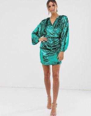 Коктейльное платье с рукавами летучая мышь и пайетками -Синий ASOS EDITION