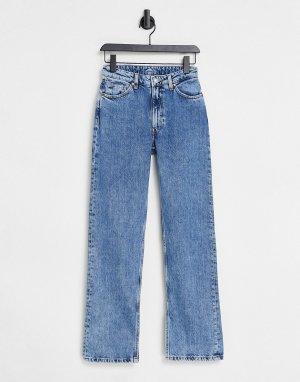 Голубые прямые джинсы из органического хлопка с разрезами по краям выбеленного цвета Elsie-Голубой Monki