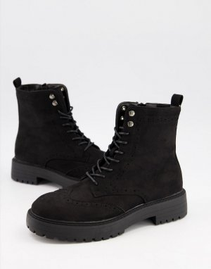 Черные замшевые броги на плоской подошве и шнуровке Anabelle-Черный цвет Schuh
