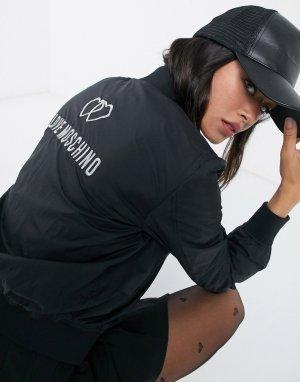 Черный бомбер с логотипом и сердцами из страз Love Moschino