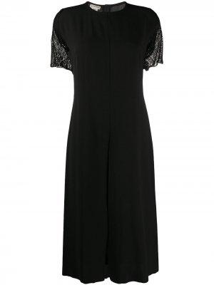 Платье миди 1990-х годов с разрезом спереди Dries Van Noten Pre-Owned. Цвет: черный