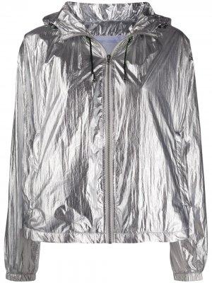 Куртка с капюшоном и эффектом металлик Pinko. Цвет: золотистый