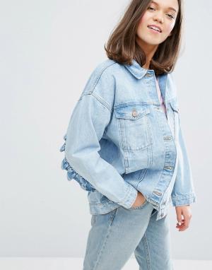 Джинсовая куртка с оборками Monki. Цвет: синий