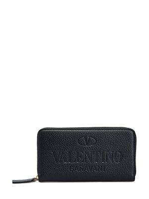 Кожаное портмоне ручной работы с тисненым логотипом VALENTINO GARAVANI. Цвет: черный