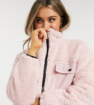 Куртка из искусственного меха в стиле oversized на молнии Wednesdays Girl-Розовый Wednesday's Girl