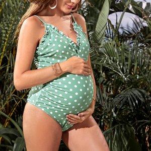 Купальник для беременных SHEIN. Цвет: мятно-зеленый