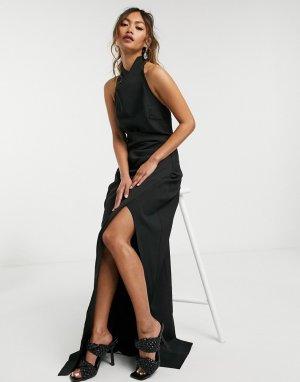 Черное платье макси со свободным воротом и разрезом -Черный цвет Goddiva