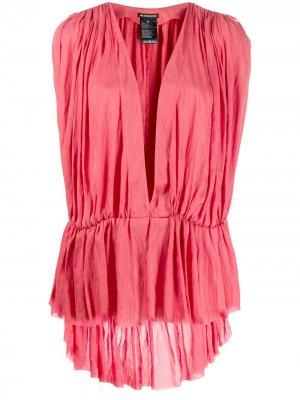Блузка с глубоким V-образным вырезом Ann Demeulemeester. Цвет: розовый
