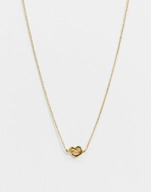 Золотистое ожерелье с маленькой подвеской Loves Me Knot -Золотой Kate Spade
