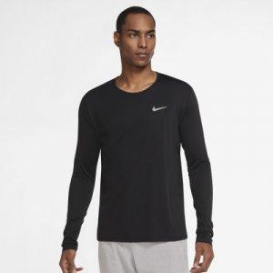 Лонгслив мужской Dri-FIT Miler, размер 46-48 Nike. Цвет: черный