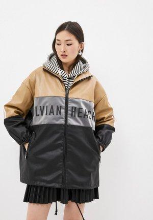 Куртка кожаная Silvian Heach. Цвет: разноцветный