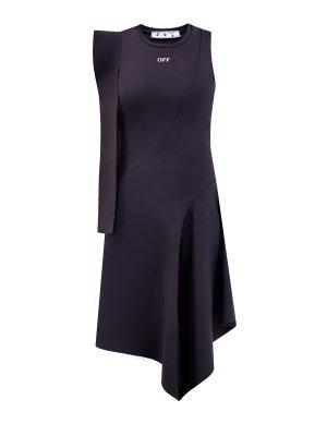 Асимметричное платье-миди в стиле спортшик OFF-WHITE. Цвет: черный