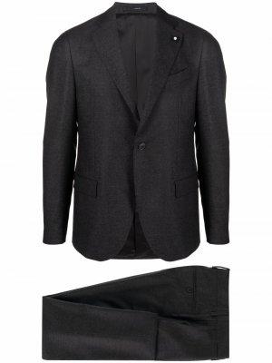 Костюм с однобортным пиджаком Lardini. Цвет: серый