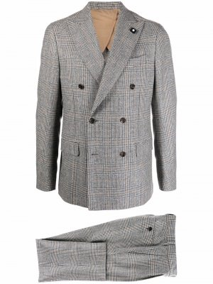 Костюм-двойка с двубортным пиджаком Lardini. Цвет: серый