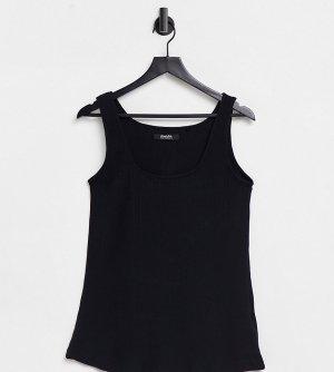 Черная майка в рубчик с квадратным вырезом -Черный цвет Simply Be
