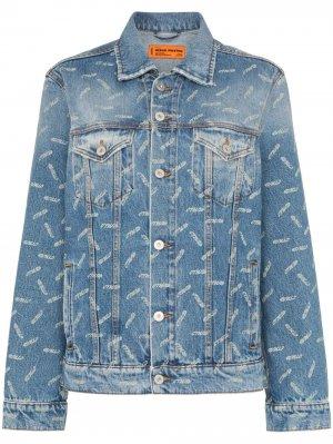 Джинсовая куртка с принтом CTNMB Heron Preston. Цвет: синий