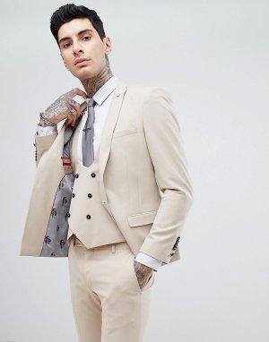 Супероблегающий пиджак кремового цвета -Золотой Noose & Monkey