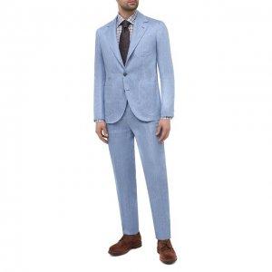 Льняной костюм Brunello Cucinelli. Цвет: голубой